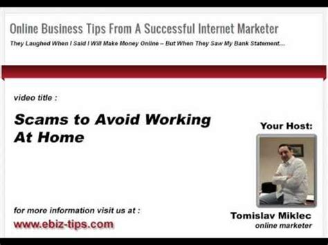 Online Business Work From Home - work at home scams online business tips www ebiz tips