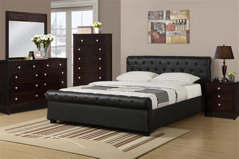 black leather bedroom set bedroom f 9246 black faux leather bed discounted furniture