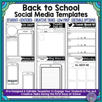 Oh Snap Editable Social Media Template Back To School Edition Tpt Social Media Caign Template