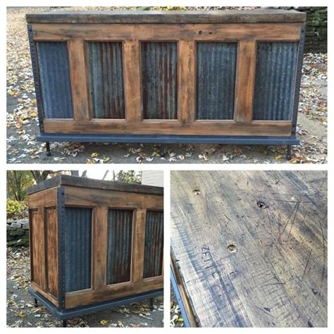 Outdoor Bar Cabinet Doors Industrial Counter Bar Wrap Repurposed Door Reclaimed Butcher Block Rust Found
