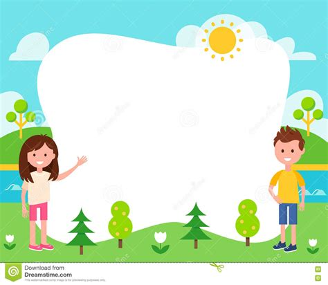 children s card templates and summer landscape poster template stock vector