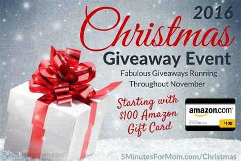 Giveaway Christmas - christmas giveaway event 2016 starting with 100 amazon gift card