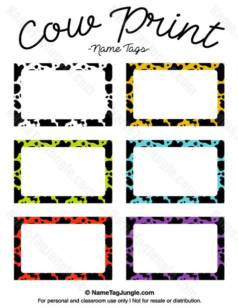 name card templates free printable editable printable cow print name tags