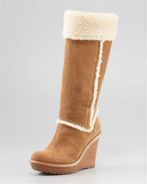 ugg aubrie suede wedge knee boot chestnut in brown