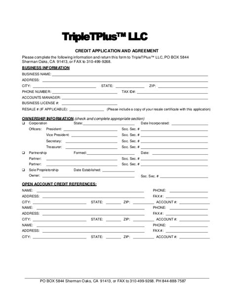 Credit Repair Agreement Form Tripletplus Commercial Fleet Roadside Assistance Credit Application P