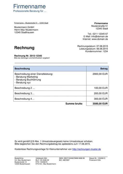 Freiberufler Rechnung Mit Steuernummer rechnung schreiben freiberufliche ta 168 tigkeit rechnung