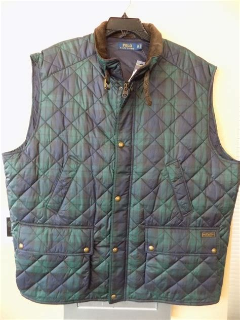 Ralph Plaid Quilted Vest by Nwt Polo Ralph Blue Plaid Quilted Vest Corduroy