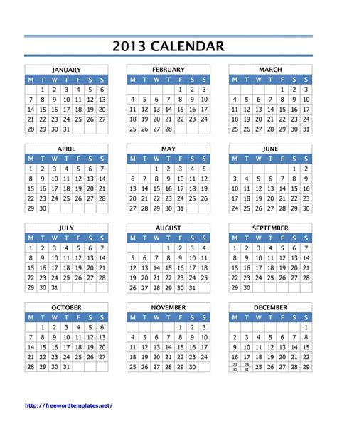 2013 year calendar template free microsoft word templates