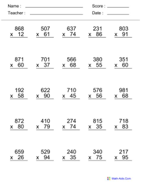 Printable multiplication worksheets 3rd grade math