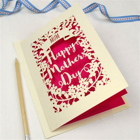 handmade mothers day card templates personalised papercut happy s day card by