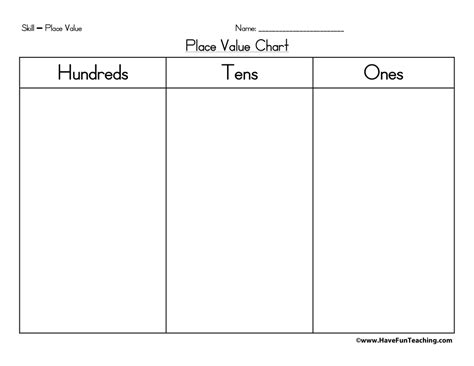 printable place value chart to hundreds place value chart hundreds tens ones have fun teaching