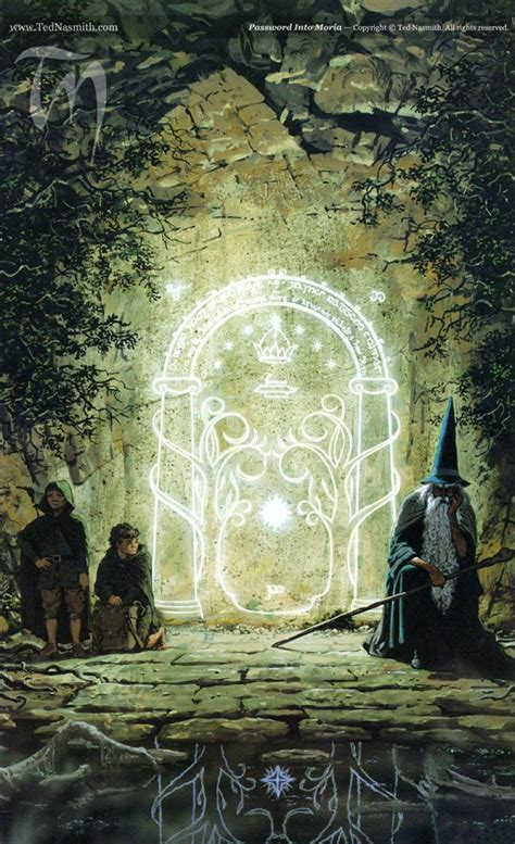 Magic Gate Of Moria Lord Of The Ring The Hobbit Tshirt password into moria ted nasmith