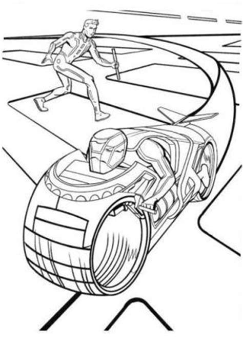 Tron Legacy Destroy Enemy Light Cycle Coloring Pages