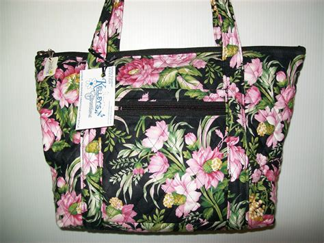 Quilted Purses To Make by Quilted Fabric Handbag Purse Black With Beautiful Pink Flowers