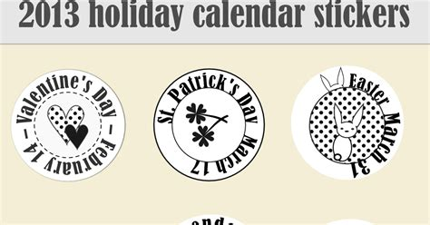 printable calendar holiday stickers free printable 2013 holidays calendar stickers holidays