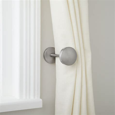 where to place curtain holdbacks curtain holdback brushed steel sunny house pinterest