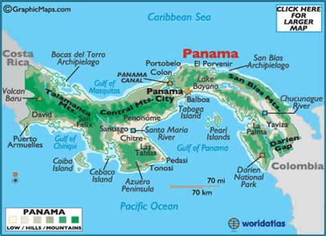 Panama Canal On World Map by Panama Map Geography Of Panama Map Of Panama