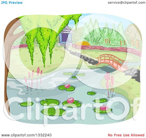 garden layout vector clipart of a pond and foot bridge in a botanical garden
