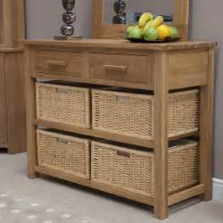 Hallway Tables With Storage Eton Solid Modern Oak Hallway Furniture Basket Console Table Ebay