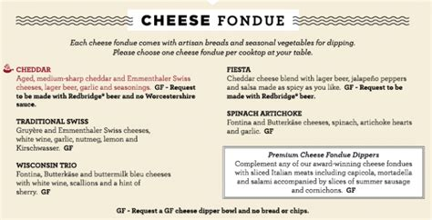 fondue dinner menu gluten free melting pot gluten free menu