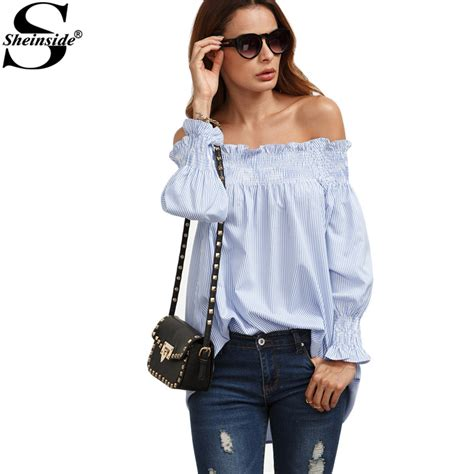 21478 Blue Stripe Smlxl Blouse sheinside blue and white striped the shoulder smock shirt tops summer office wear