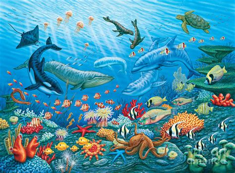 ocean life painting by phil wilson
