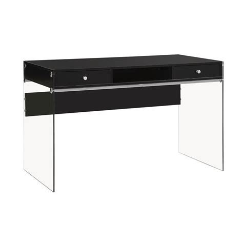 Modern Black Desk Coaster 2 Drawer Modern Computer Desk In Glossy Black 800830