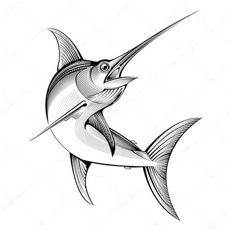 clipart pesce pesce spada di vettore illustrazione di incisione