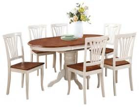 7 pc dining set oval dining room table with leaf and