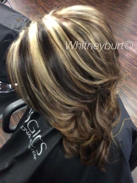 images of ladies hair with bold blonde or white streaks chocolate lowlights and bold blonde highlights by me
