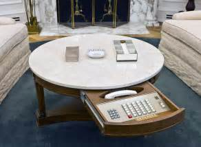 White Oval Coffee Table An Exhibit Of The Oval Office Of The White House As It Was