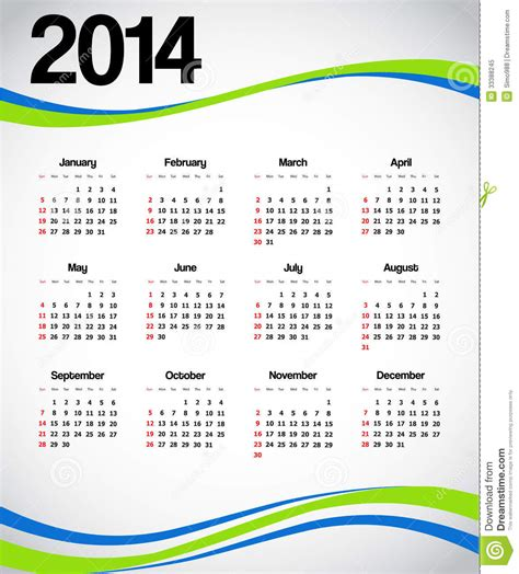 Calendario L 2014 Calendario 2014 Foto De Archivo Libre De Regal 237 As Imagen
