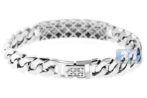 18k white gold 1 97 ct cuban link mens id bracelet