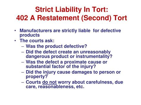 section 402a of the restatement second of torts ppt business torts and product liability powerpoint