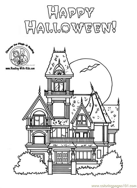 Free Big Big Houses Coloring Pages Haunted House Color Page