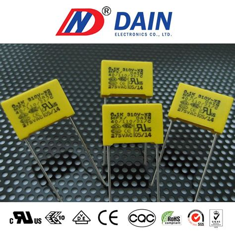 dain capacitor 0 1 uf metalized polypropylene capacitor 0 1uf 275vac pitch 15mm interference suppression