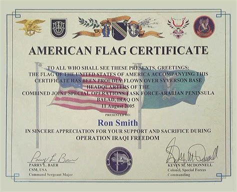Flag Certificate Template Smith Enterprise Inc