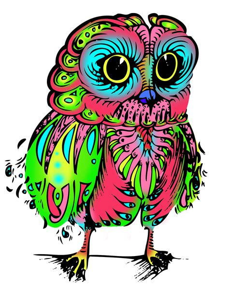 psychedelic owl full body by squeezeboxx on deviantart