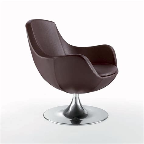 comfortable armchairs swivel chair covered in leather conical base idfdesign