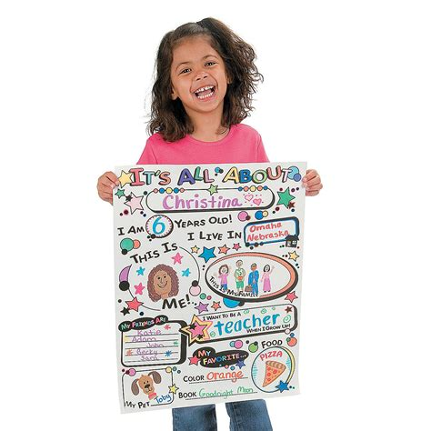 color your own all about me posters oriental trading