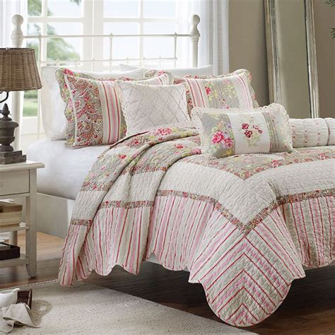 cottage bedding feminine floral stripe bedding cottage style pinterest