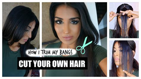how to cut your own hair in v shape layers how to cut your own hair bangs youtube