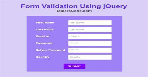 jquery tutorial for validation form validation using jquery