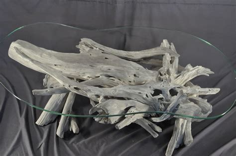 Driftwood Tables Handmade - crafted sun bleached driftwood and glass coffee table