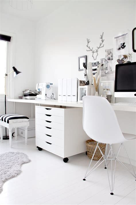 black white home office