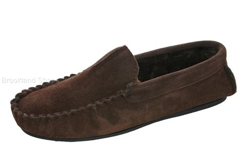 mens size 11 slippers s dunlop real leather moccasin slippers size 6 11 ebay