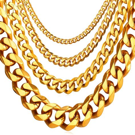 U7 Cuban Link Chain Men Gold Color Stainless Steel Hiphop