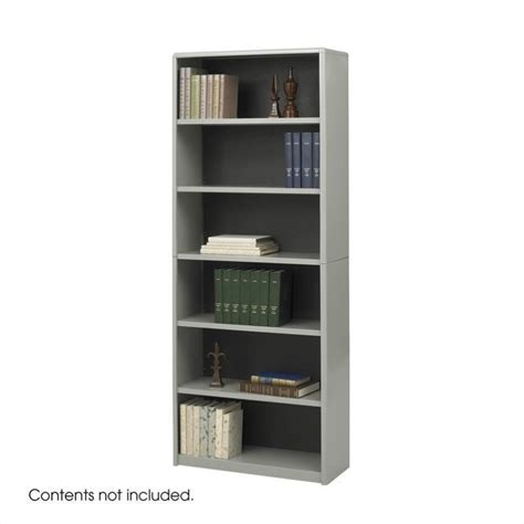 standard 6 shelf economy steel bookcase in gray 7174gr