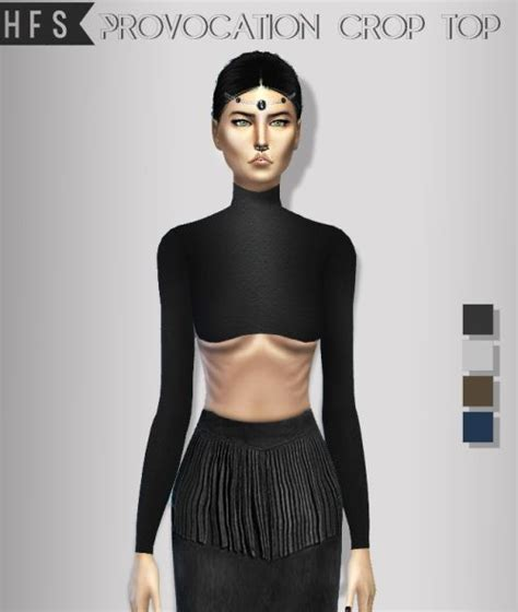 Crop Top Blouse Cc haut fashion sims provocation crop top sims 4 downloads