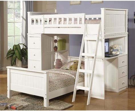 cottage style bunk beds acme furniture cottage white finish wood loft bunk bed with chest hutch contemporary